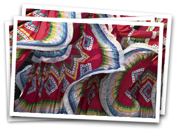 Image of Mexican dress while women dance